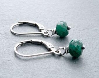 Emerald Earrings for Women, May Birthstone Earrings, Genuine Emerald Gemstone Earrings, Lever Back Ear Wires, Sterling Silver, #4791