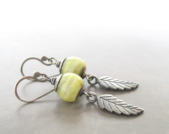 yellow lampwork and silver earrings, rustic dangle earrings, oxidized jewelry, chartreuse boho earrings, botanical jewelry