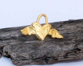 Winged Heart Charm Gold Plated Fying Heart Charm 001/CH440G
