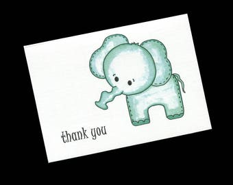 Thank You Cards - Baby Shower Thank You Cards - Elephant  - Blank Note Cards - Thank You Note Card - Gender Nuetral - Style #1251