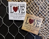 "Smore Love 1"" square STICKER Personalized Wedding Engagement Shower Favor STICKER choose your amount"