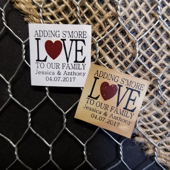 """Smore Love 1"""" square STICKER Personalized Wedding Engagement Shower Favor STICKER choose your amount"""