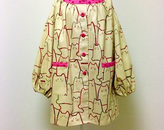 Tunic Top / Smock Dress / Kappogi Apron --- MORE CATS -  Red