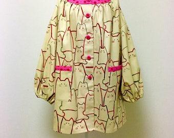 Tunic Top / Smock Dress / Kappogi Apron --- MORE CATS -  Red