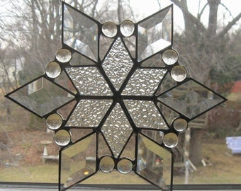 Star Ornament . beveled glass star . stain glass star . handmade glass star