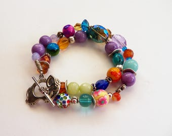 bOHEMIAN Mix and Match OOAK Beaded Boho Bracelet,  Purples, Blues, Orange, Silver Beads, Gemstone Bohemian Beaded Bracelet, Gift for Her