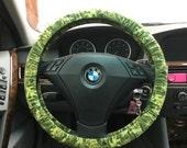 Green Leaves Steering Wheel Cover