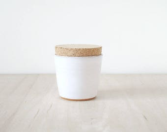 mini cork jar, white.