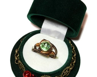 SALE 25% OFF - Valentine Limited Edition - Green Steampunk Top Hat Single Ring Box and Chrysolite Swarovski Crystal Ring