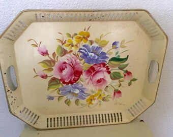 Vintage Large Pink Cottage Tole Painted Roses Paris Chic Tray Reticulated by Nashco Shabby