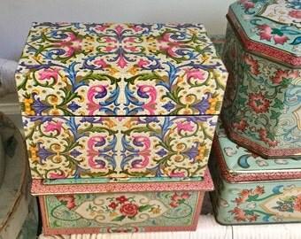 Eaton's Antiqua Italian Florentine Recipe Box Tin Like New