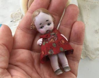 Antique German Tiny Bisque Miniature Girl Toddler Doll in Original Dress 1920's