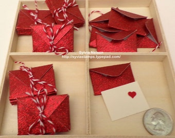 """12 Tiny RedGlitter Envelopes..1 1/8"""" x 1 1/2""""..Tiny heart or plain card available..More colors coming..Just in Time for Valentines..handmade"""