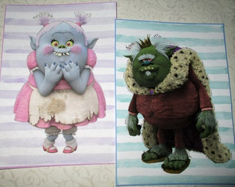TROLL WaLL ArT-  A Set of 6 with your choice of sizes - Colorful kids art - whimsical art - TWA 878
