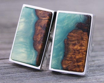 Cufflinks Handcrafted from Cherry Burl Wood with Teal Swirling Resin
