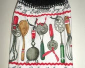 Blow Out Sale Crochet Top Towel, Retro Kitchen Utensils Towel, Red & Green Kitchen Tools, Hanging Dish Towel, Hanging Hand Towel, Kitchen Te
