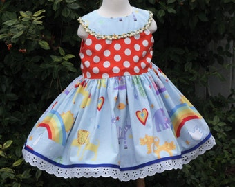 Toddler Dress/Valentines Outfit/Rainbow Dress/Animal Dress/Toddler Girl Clothes/Toddler Girl Dresses/Spring Dress/2t Girls Clothes/2T Dress