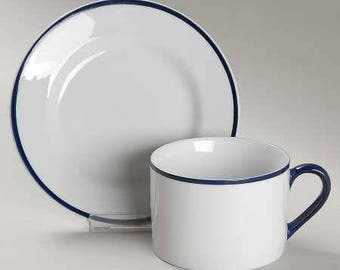 5 avail Crate & Barrel CAPE COD BLEU Cup and Saucer Set - French Bistro Style- White Dark Blue Navy Trim Band -8 oz- Housewarming Gift Ideas
