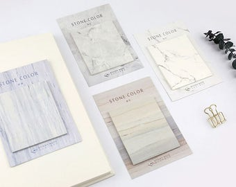 SET of 4pcs - Stone Color Sticky Note, Memo Pad, Scrapbooking Journaling Spot
