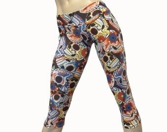 SHOWROOM SALE xs/s -Yoga Pants - Workout Clothes - Hot Yoga -TIghts - Fitness - Sugar Skull - Skull Pants - Low Rise - Capri - SXY Fitness