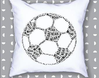 Personalized Soccer Ball 20 x 20 Throw Pillow Cover Room Decor Gift