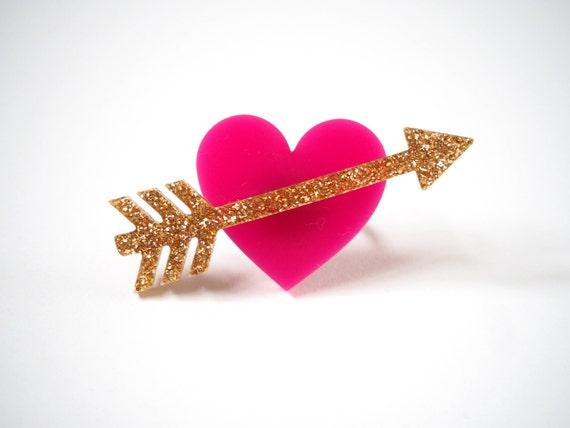 Cupid Ring, Laser Cut Acrylic, Heart Ring, Play Ring, Fun Ring, Bold Ring RockCakes