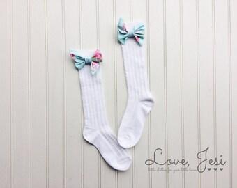 Toddler Knee Highs, Baby Girls Knee Socks, Bow Knee Highs, Girls Knee Socks, Baby Knee Highs, Girls Bow Socks, Toddler Bow Socks, Bow Knee