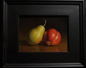 """Original Oil Painting, with frame """" Forelle Pears"""" 8x6"""