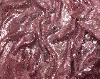 Pink SEQUIN Spangle Sewn on Mesh Fabric - 1 Yard