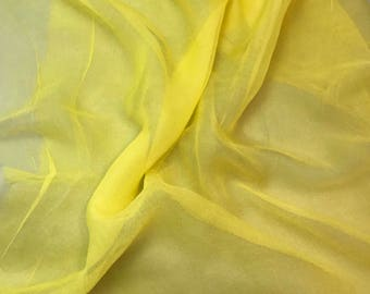 Silk Gauze Chiffon - Hand Dyed Sunshine Yellow - 1 Yard