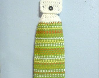 Hanging Kitchen Towel Mixed Colored Stripes Choice of Green or Yellow Main Color