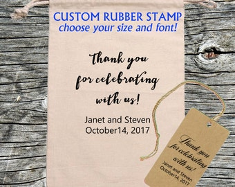 Wedding Favor Thank you rubber stamp - Personalized, Customized - Handmade by Blossom Stamps