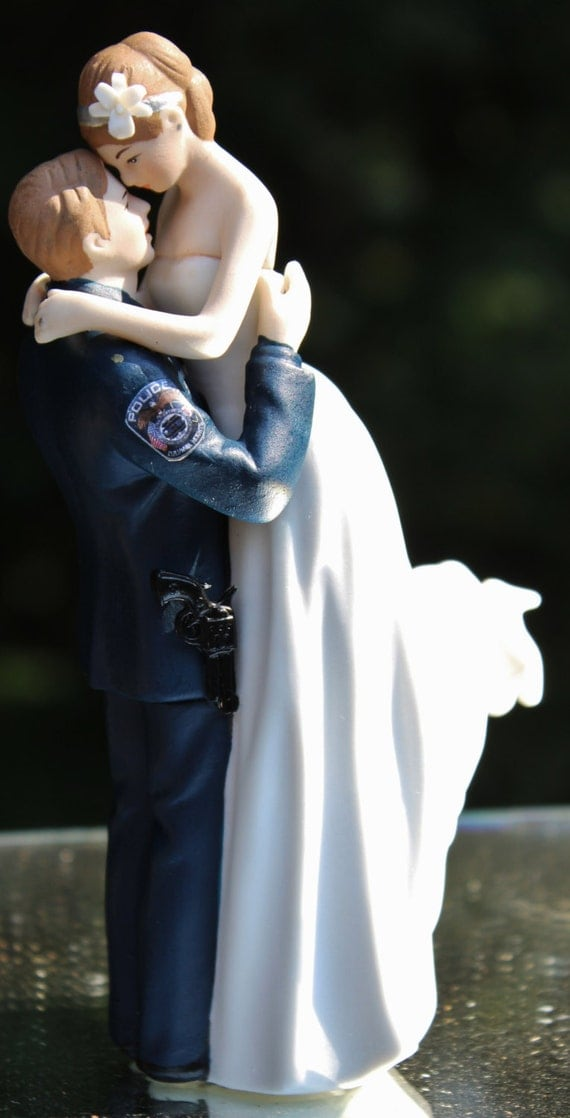 police officer wedding cake topper officer cop enforcement gun wedding cake topper 18672