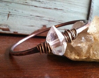 Herkimer Diamond Bracelet Bangle Bracelet April Birthstone Jewelry DanielleRoseBean Copper Bangle Bracelet Herkimer Diamond Jewelry