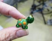 Turtle Tuesday - Green Orange Yellow Lampwork Bead