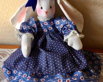 Rabbit Muslin 20 Inch Handmade Easter Bunny, Birthday Gift, Child's Doll