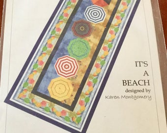 Quilt Pattern, Its a Beach, 16 x 41 inches Table Runner Pattern