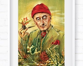 Portrait of Jacques Cousteau, Vintage Portrait, Historical Portrait, Home Decor, Wall Art, Art Print, Wall Decor, Giclée Print, Animal Print