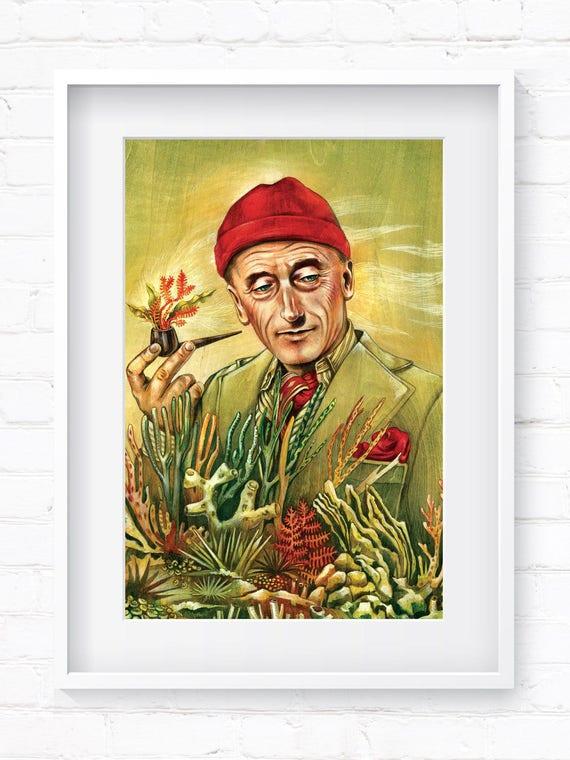 Portrait of Jacques Cousteau, Vintage Portrait, Historical Portrait, Home Decor, Wall Art, Art Print, Wall Decor, Giclée Print, Animal Print