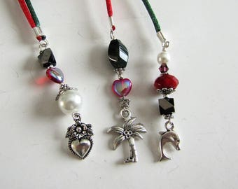 Beaded Bookmarker,  Books and Zines: Magazine,Bookmarker, Red and Green Cord, Dolphin,palm Tree, Heart Charms,Book accessories Item 1199