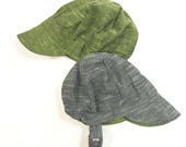 UB2 GRASSHOPPER a solid, thread-dyed, slug-woven chambray baby BOY newsboy sun hat in gray and green, by The Urban Baby Bonnet (all sizes)
