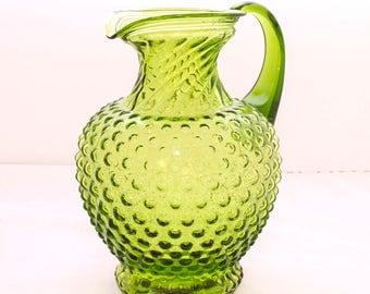 Vintage Green Glass Pitcher, Hobnail Pitcher, Swirl Pitcher, Vintage Glass, Green Glass, Avocado Green, Water Pitcher, Juice Pitcher,