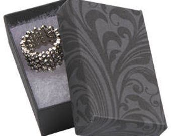 50 Pack of 2.5X1.5X7/8 Inch Size High Quality Black Fleur Cotton Filled Jewelry Presentation Boxes