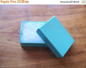 Spring Sale 10% off 100 Pack of 2.5X1.5X1 Inch Size Teal Cotton Filled Jewelry Retail Merchandise Boxes