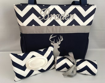 DEER  Silhouette  .. DIAPER Bag SET ... Wipe Cover ...   Changing pad  ... Bottle Pockets ... Navy Chevron ... Zipper Available