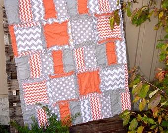 Baby Boy Rag Quilt - Grey / Orange Crib Bedding - Crib Comforter - Rustic Baby Bedding Hunting Nursery Baby Quilt - Boys Crib Bedding