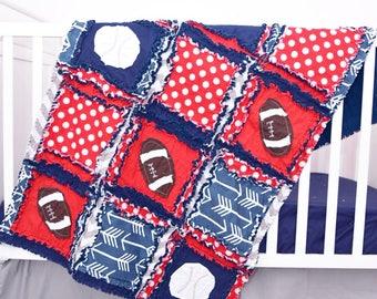 Sport Crib Bedding - Vintage Baseball Crib Bedding - Bumperless Crib Bedding - Rag Quilt, Sheet, Skirt - Navy, Red, Gray - Football Nursery
