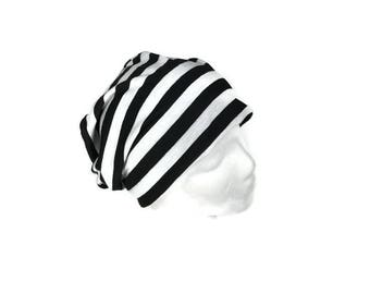 CUSTOM SIZE Slouchy Hats Unisex Beanies Black and White Striped Jersey Slouchy Hat Lightweight Slouchy Beanie Men's Summer Slouchy Hat