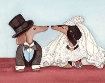 Dachshund (doxie) wedding / Lynch signed folk art print Weiner/wiener