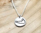 Tiny Nantucket necklace, handmade silver map jewelry